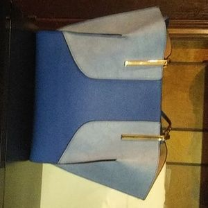 Neiman Marcus genuine leather, Royal/pale blue bas